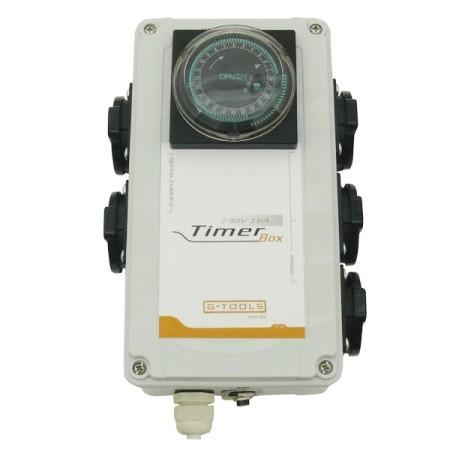 Gebruik een schakelklok met ingebouwd relais om de piekstroom van een HPS kweeklamp op te vangen.
