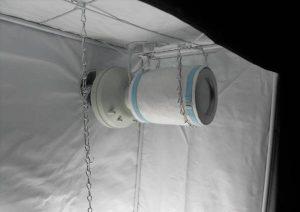 Een afzuiger met aangesloten koolstoffilter zorgt voor verversing van de lucht zonder dat je buiten je kweekruimte wietplanten ruikt
