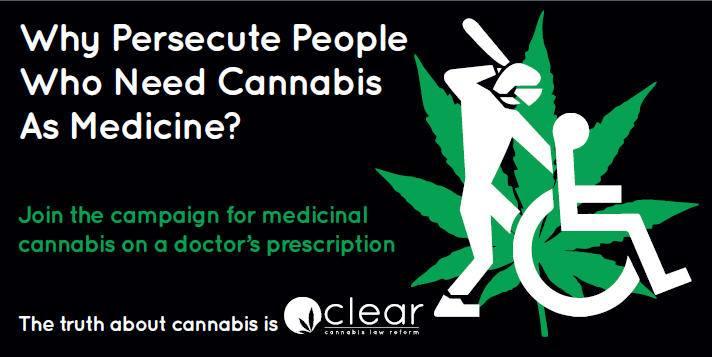 CLEAR cannabis law reform zet zich - onder andere met confronterende afbeeldingen - actief in om de wietwetten te laten veranderen in de UK. [Foto: Facebook]